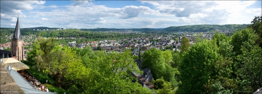 Panoramablick vom Schloss über Marburg