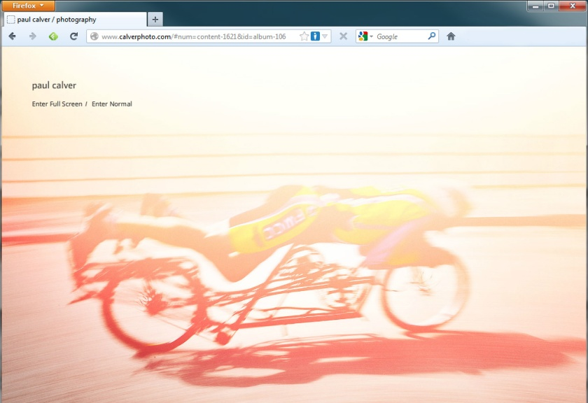 Homepage Screenshot Paul Calver photography