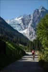 Straße zur Grossen Scheidegg oberhalb Zwirgi. Der Blick öffnet sich auf den Rosenlauigletscher und das Wellhorn.