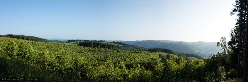 Bewaldete Höhenrücken oberhalb der Lenne.