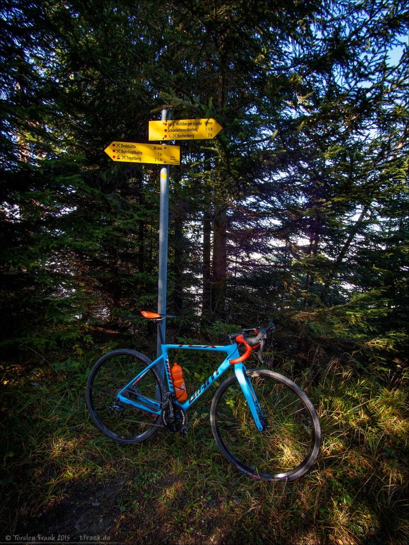 Wanderwegweiser und Crossrad.