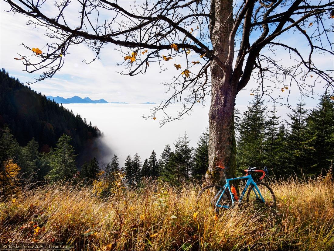 """Auf meiner Königswinkel-Cross-Tour mit meinem Giant TCX Advanced Pro 1. Hier vom Pechkopf (ein kleiner Gipfel auf 1400 m über dem Meer) kommend und am so genannten """"Seenblick"""" stehend. Nun - statt mehreren Seen gab es ein einziges Meer - ein Meer von Wolken! :)"""