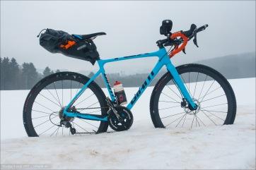 Training dedication in January :) My crosser as my testing platform. Profile Design V2+ Aerobars and Ortlieb Seat-Pack.