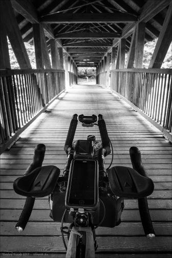 Eine schöne gedeckte Holzbrücke über die Nagold.