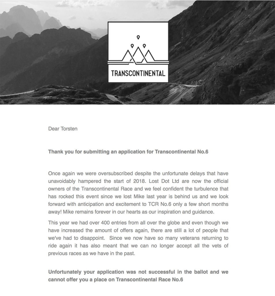 TCRNo6 Absage Mail