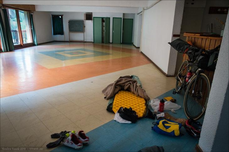 4-Sterne Deluxe Indoor Biwak (Foto am folgenden Morgen aufgenommen)