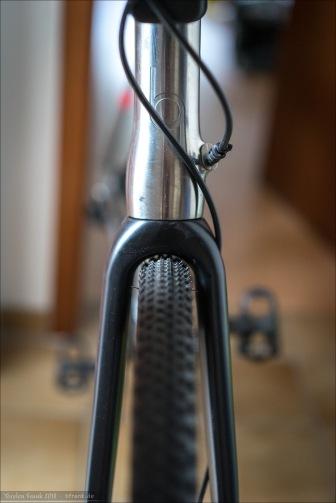 Specialized Tracer Pro 2Bliss rdy mit 5,5 bar - Reifen dreht frei. Nur die dünnen Guss-Fortsätze auf den Stollen streifen leicht gegen die Gabelkrone. Schmutzfreiheit ist aber quasi null vorhanden.